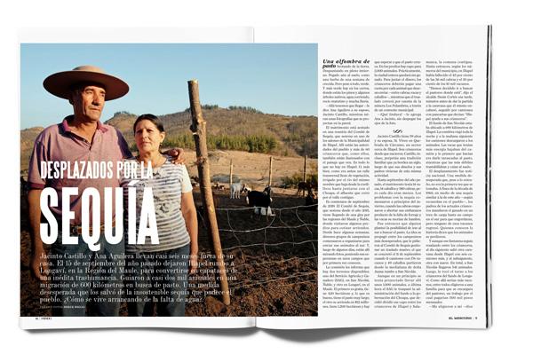 Desplazados por la sequía Jacinto Castillo y Ana Aguilera llevan casi seis meses fuera de su casa. El 15 de septiembre del año pasado dejaron Illapel rumbo a Longaví, en la Región del Maule, para convertirse en capataces de una inédita trashumancia. Guiaron a casi dos mil animales en una migración de 600 kilómetros en busca de pasto. Una medida desesperada que los salvó de la insostenible sequía que padece el pueblo. ¿Cómo se vive arrancando de la falta de agua?